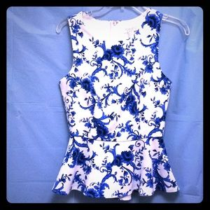 Forever 21 Royal blue & white lined Peplum top- S